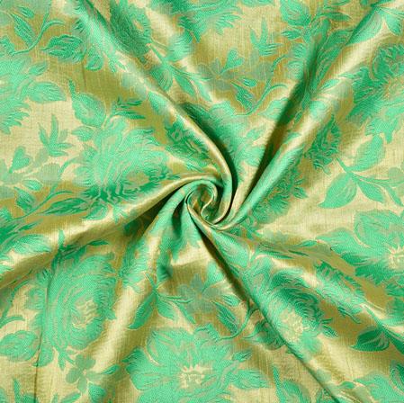 Parrot Green Golden Floral Emboss Brocade Fabric-12939