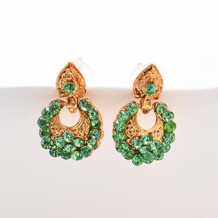Parrot Green Stone Circular Design with Golden Polish Earring for Women