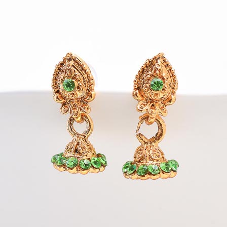 Parrot Green Stone with Golden Polish Jhumki for Women