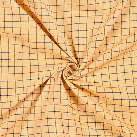 Peach Black Checks Cotton Fabric-42386