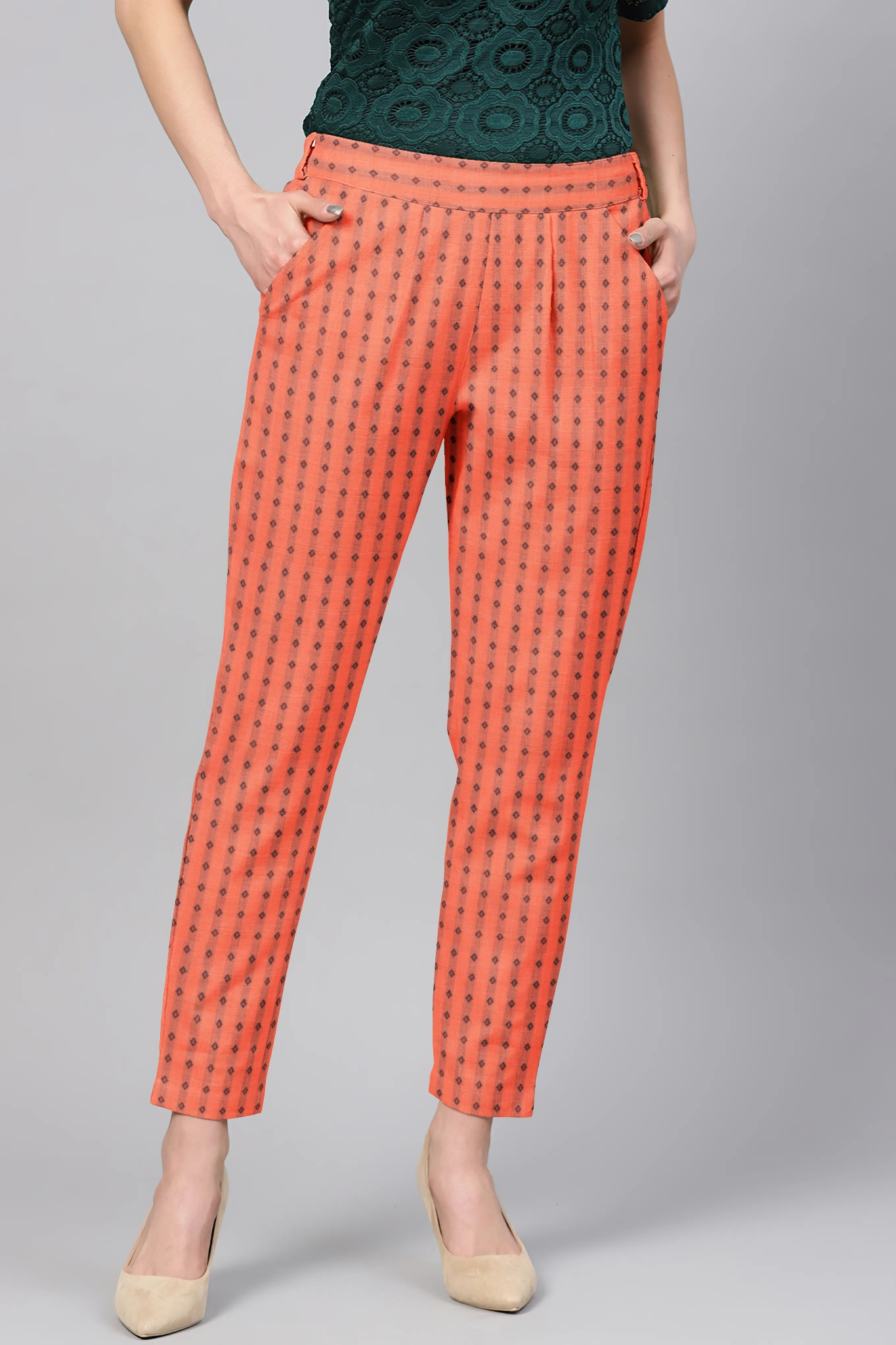 Peach Black Cotton Polka Regular Fit Solid Trouser-36082