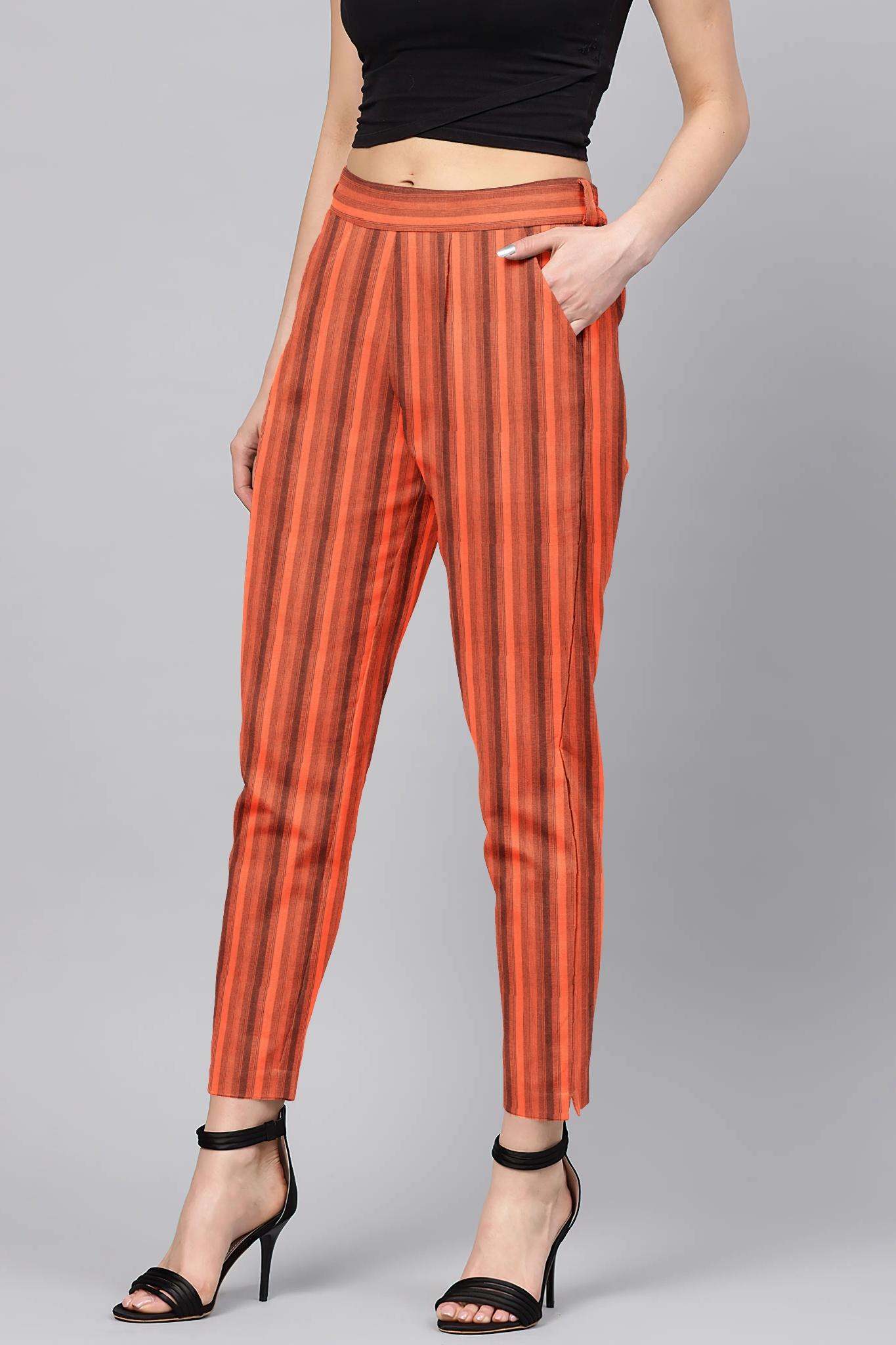 Peach Black Cotton Stripe Regular Fit Solid Trouser-36077