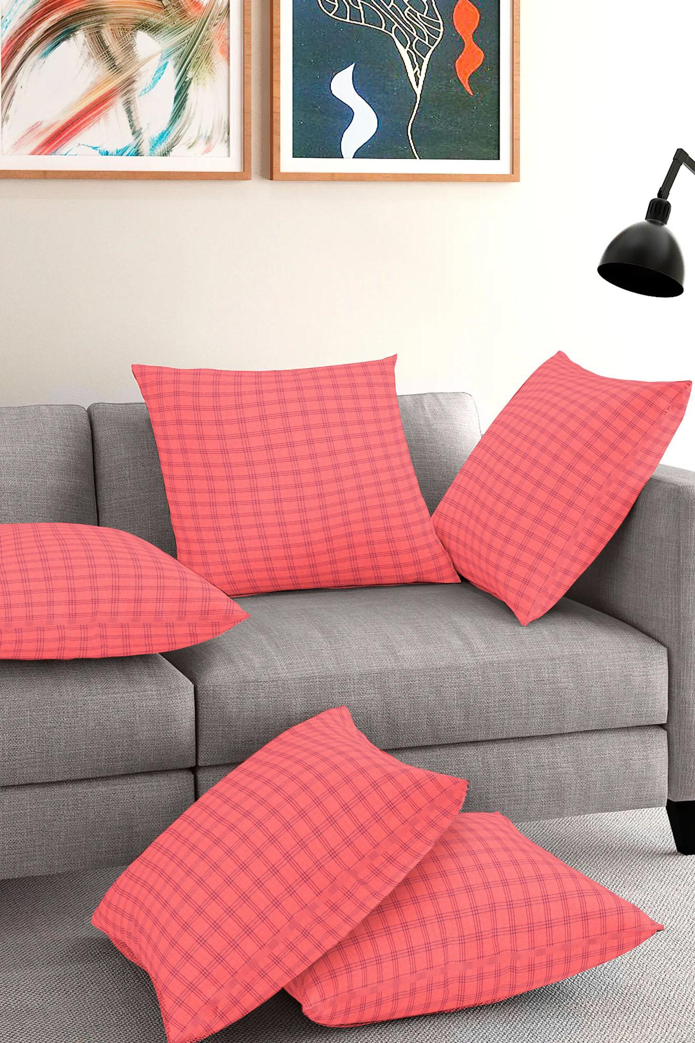 Set of 5-Peach Blue Cotton Cushion Cover-35385-16x16 Inches