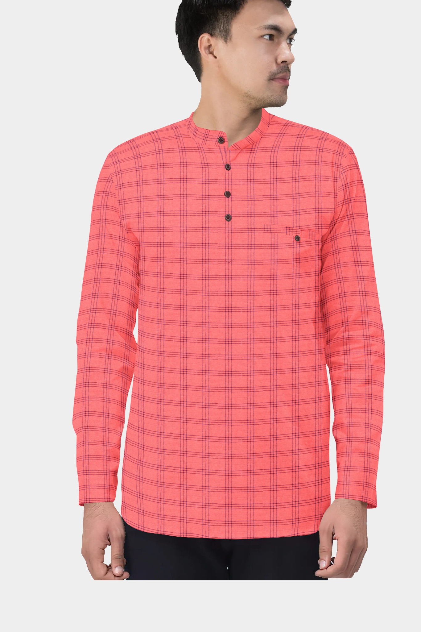 Peach Blue Cotton Check Short Kurta-35429