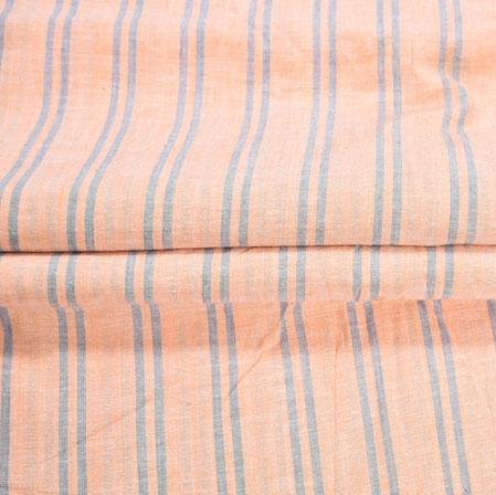 Peach Blue Stripe Handloom Cotton Fabric-40990