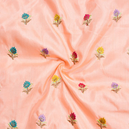 Peach Blue Yellow and Red Embroidery Silk Paper Fabric-18661