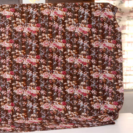 Peach-Blue and Brown Handmade Flower Design Kantha Quilt-4340