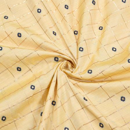 Peach Blue and Golden Checks Zari Taffeta Silk Fabric-12327