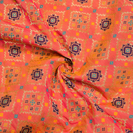 Peach Blue and Golden Circle Digial Banarasi Silk Fabric-12027