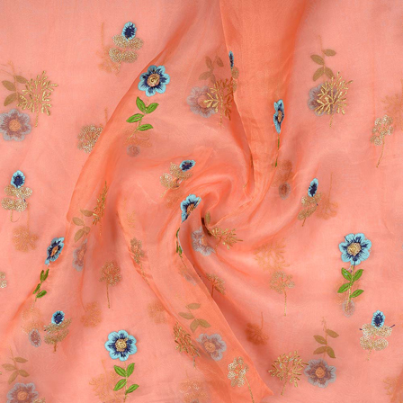 Peach-Blue and Golden Flower Design Embroidery Organza Fabric-51009