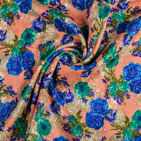 Peach-Blue and Green Flower Banglori Silk Fabric-37013