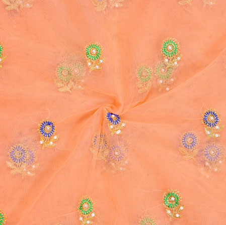 Peach Blue and Green Embroidery Silk Net Fabric-18677