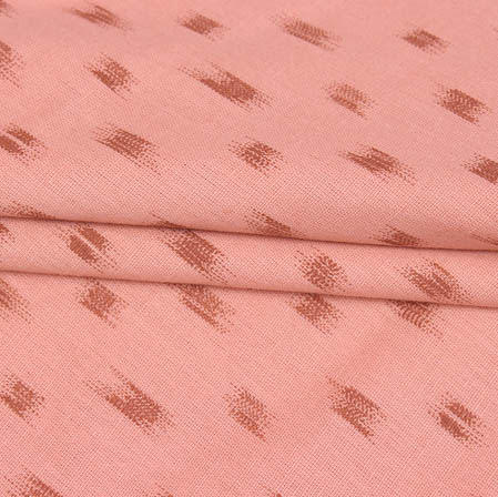 Peach Brown Block Print Cotton Fabric-14946
