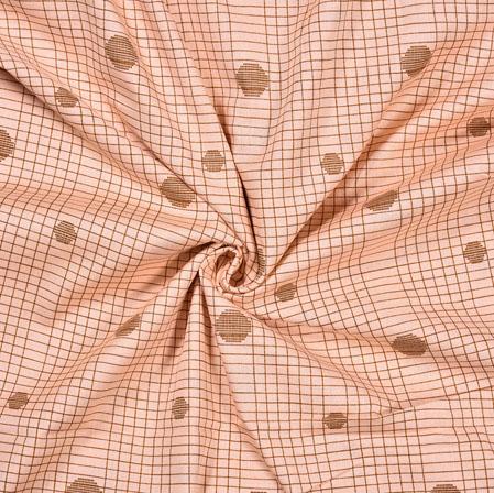 Peach Brown Check Cotton Flex Foil Fabric-28234