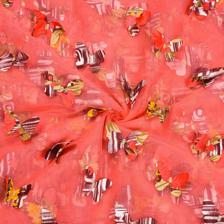 Peach Brown Net Butterfly Embroidery Fabric-18774