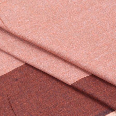 Cotton Shirt (2.25 Meter)-Peach Brown Striped Handloom-140712