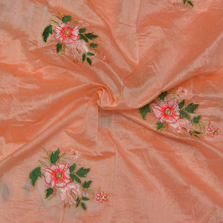 Peach Chanderi Silk Base Fabric With Green and Pink Floral Embroidery-60007