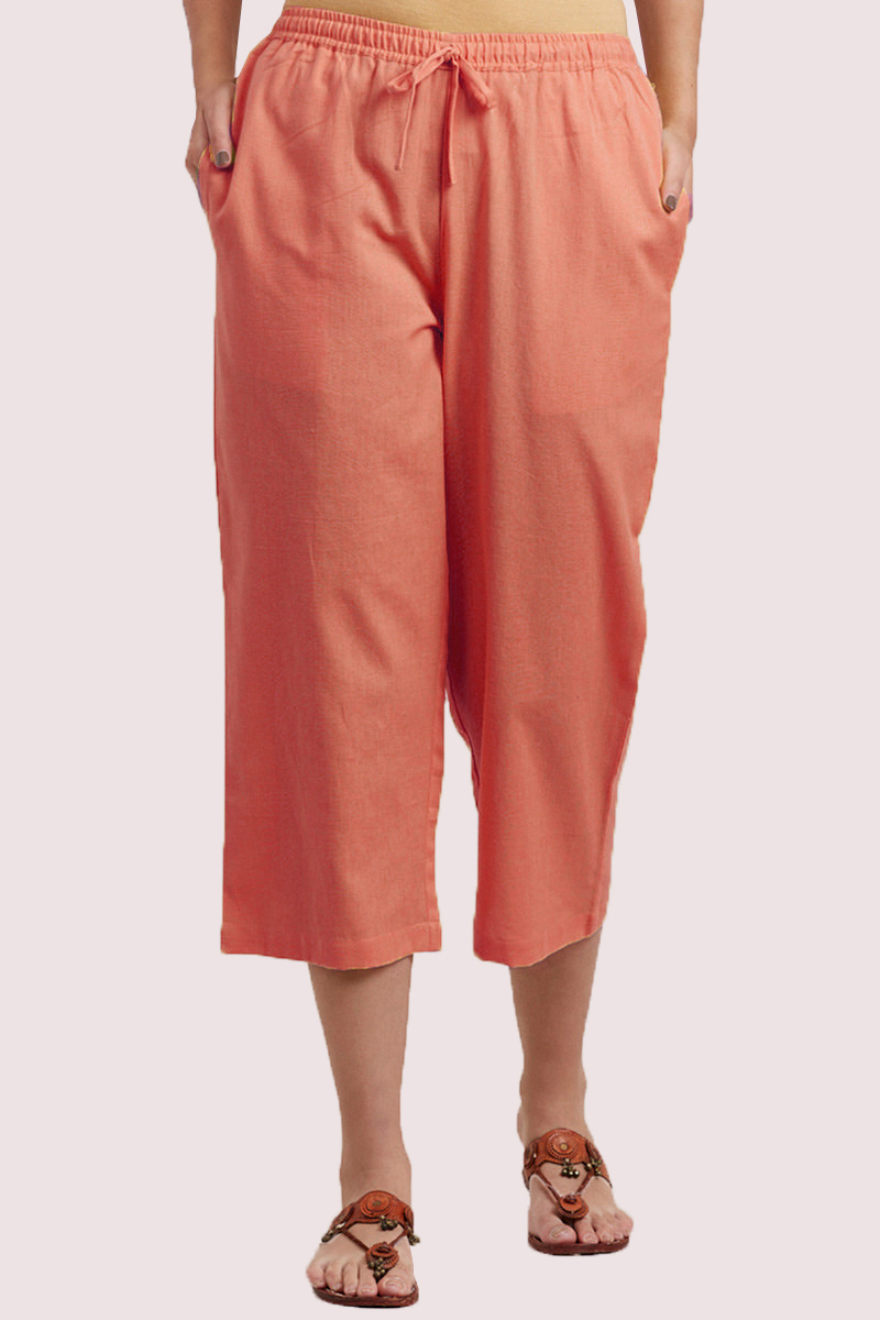 Peach Cotton Solid Women Culottes-33852