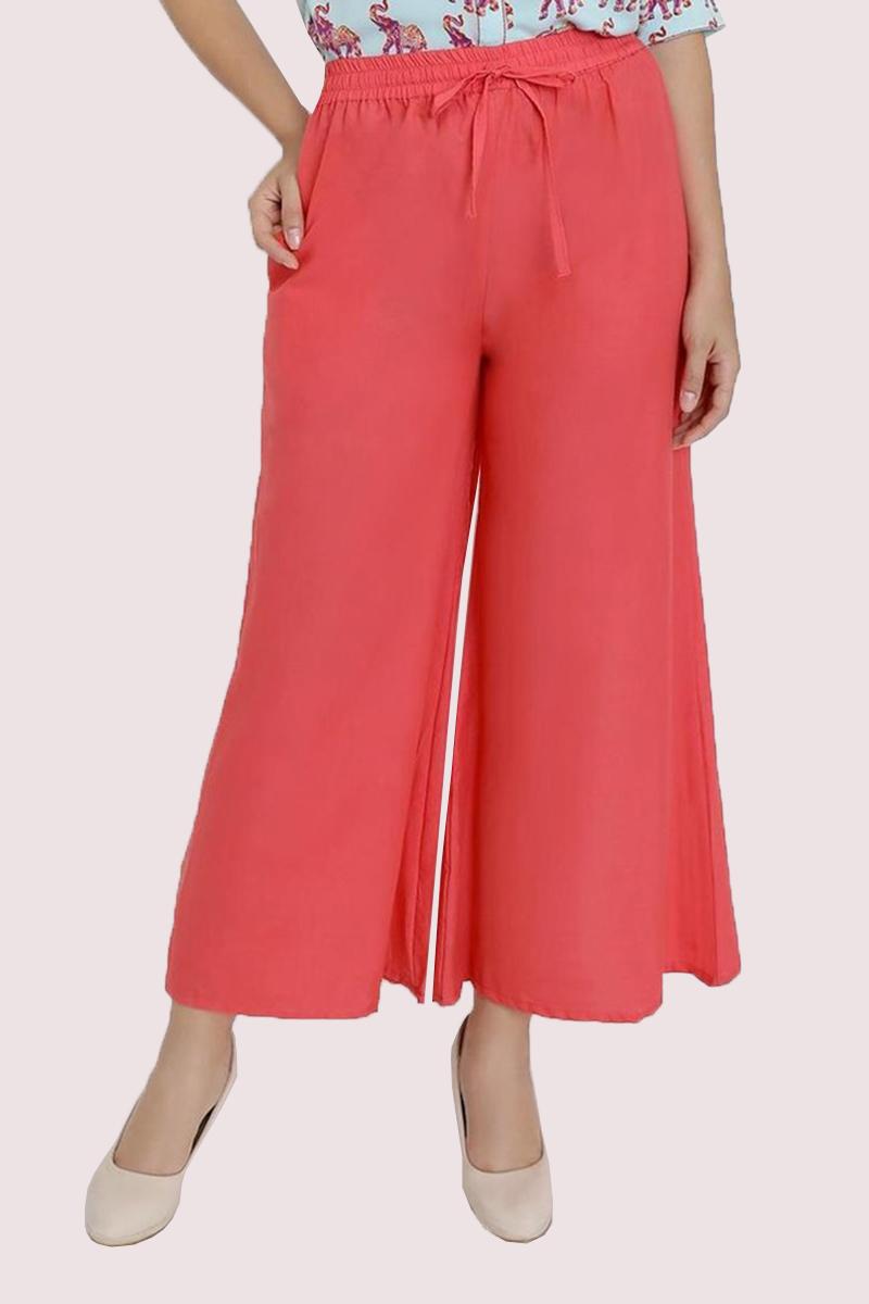 Peach Cotton Solid Women Palazzo-33311