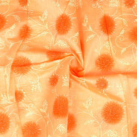 Peach-Cream and Silver Floral Pattern Chanderi Silk Fabric-9012