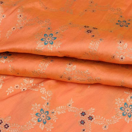 Peach Cyan and Golden Floral Digital Banarasi Silk Fabric-9225