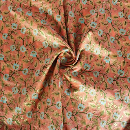Peach Cyan and Green Floral Banarasi Silk Fabric-9408