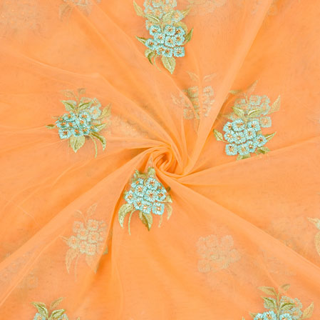 Peach Cyan and Green Floral Net Embroidery Fabric-19269