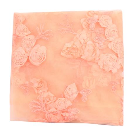 Peach Flower Net Embroidery Fabric-60860