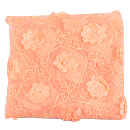 Peach Flower Net Embroidery Fabric-60873
