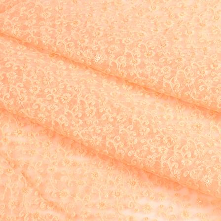 Peach Flower Sequin Net Fabric-60651
