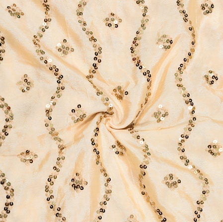 Peach Golden Embroidery Silk Chinon Fabric-18535