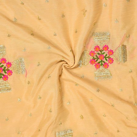 Peach Golden Embroidery Silk Chinon Fabric-18623
