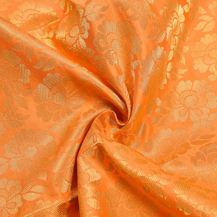 Peach Golden Floral Chanderi Zari Silk Fabric-12221
