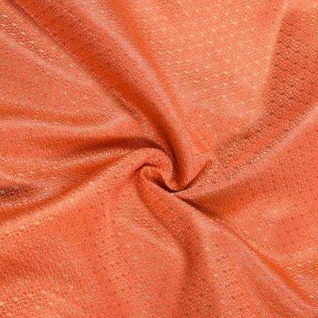 Peach Golden Floral Chanderi Zari Silk Fabric-12263