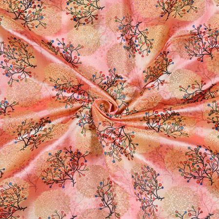 Peach Golden Floral Digital Banarasi Silk Fabric-12727