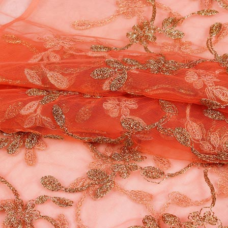 Peach Golden Floral Jaal Embroidery Net Fabric-60977