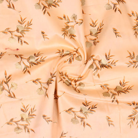 Peach Golden Floral Jam Cotton Fabric-15145