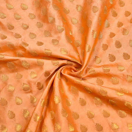 Peach Golden Floral Satin Brocade Silk Fabric-12169