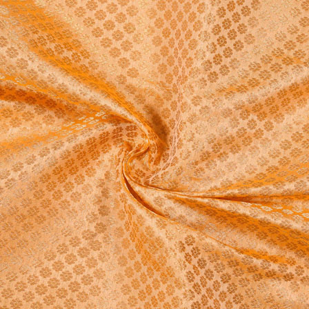 Peach Golden Flower Chanderi Zari Silk Fabric-12079