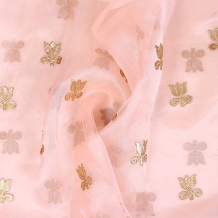 Peach Golden Flower Embroidery Organza Silk Fabric-51703