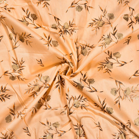 Peach Golden Flower Jam Cotton Print Fabric-28389
