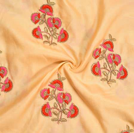 Peach Golden Pink and Red Embroidery Silk Chinon Fabric-18631