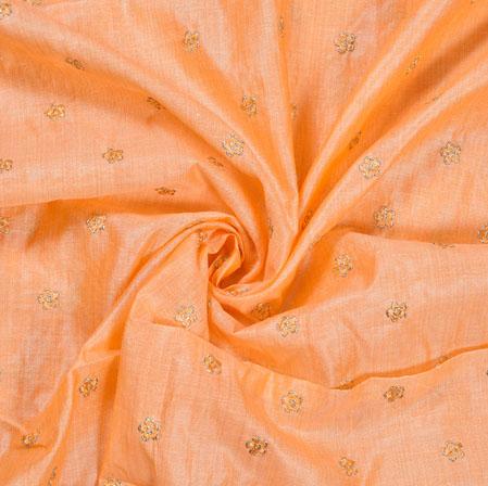 Peach Golden Polka Flower Burbari Embroidery Fabric-28280