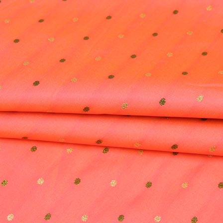 Peach Golden Zari Dot Brocade Silk Fabric-9243