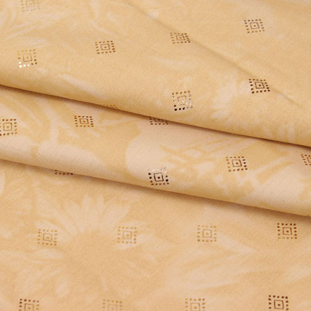 Peach Golden and Black Polka Jam Cotton Fabric-15156