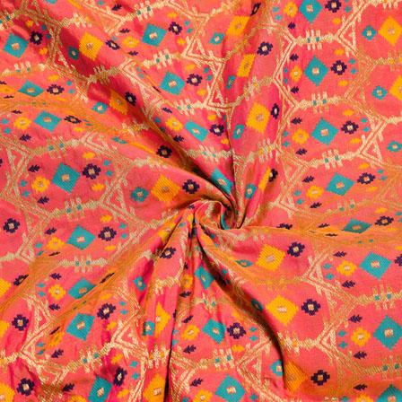 Peach Golden and Cyan Zig-zag Digial Banarasi Silk Fabric-12028