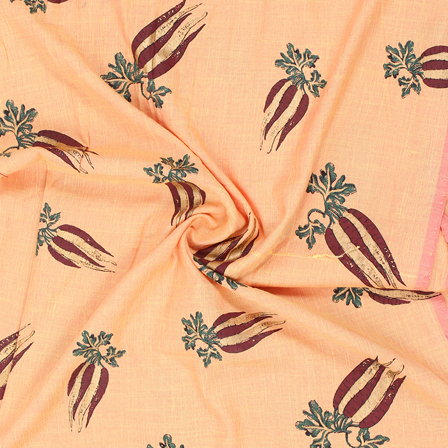 Peach-Golden and Green Jam Cotton Silk Fabric-75171