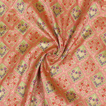 Peach Golden and Pink Floral Banarasi Silk Fabric-9383