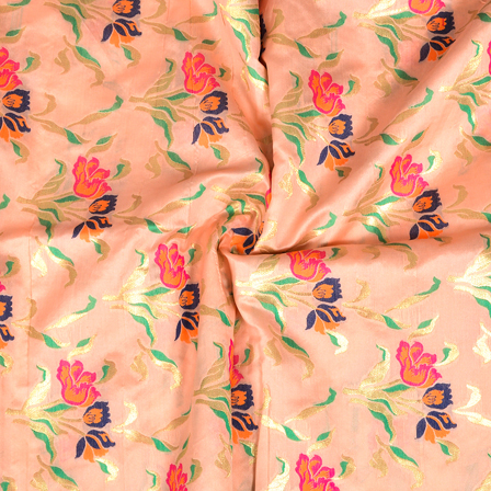 Peach-Golden and Pink Flower Design Digital Banarasi Silk Fabric-24043