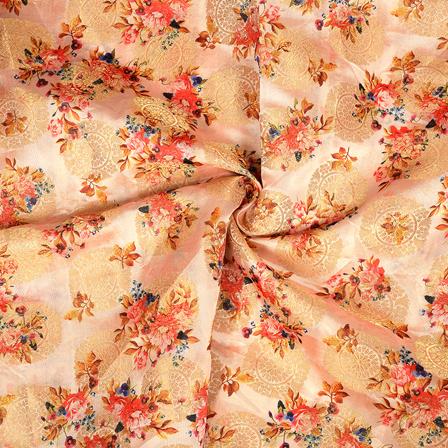 Peach-Golden and Red Flower Digital Banarasi Silk Fabric-24054
